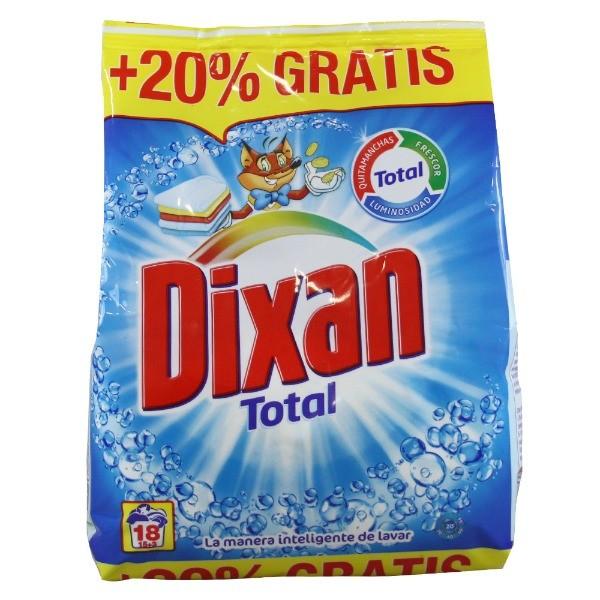 DIXAN Detergente Total 18 dosis  20% Gratis