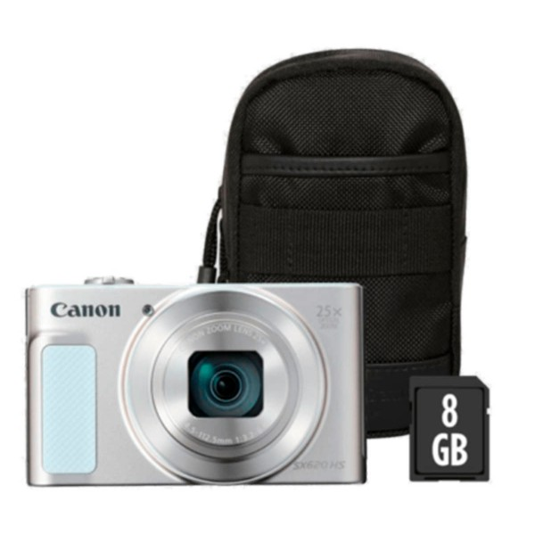 Canon powershot sx620hs blanco kit cámara compacta 20.2mp full hd 25x gran angular digic4+ wifi nfc bolsa sd 8gb